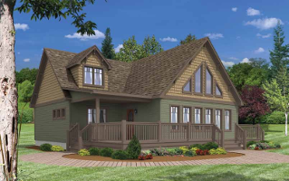Cedarville Green Siding And Top Brown Shake With Trim